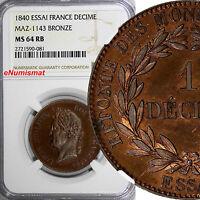 France Louis Philippe Bronze Essai 1840 Decime NGC MS64 RB Prooflike MAZ-1143