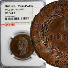 France Louis Philippe Bronze Essai 1840 Decime NGC MS64 RB Prooflike MAZ-1143