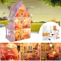 DIY Dollhouse Miniature 3D Wooden Furniture Pink Doll House LED Kit Kid Toy Gift