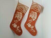 Vintage Pair (2) Mid Century Wool Felt Christmas Stenciled Stocking 1940-50s MCM
