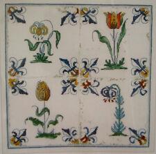 NEW CROSS STITCH LINEN KIT DUTCH DELFT TILES TULIPS FLOWERS THEA GOUVERNEUR 485