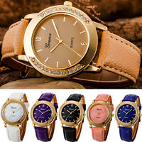 Women Crystal Stainless Steel Leather Quartz Analog Wrist Watches Watch