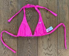 Roxy M Bikini Top Monica Pink Polka Dot Reversible BNWOT 12