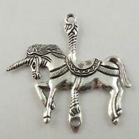 15 pcs Antiqued Silver Alloy Connector Unicorn Horse Craft Pendant 43x39x3mm