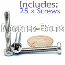 M4 x 30mm - Qty 25 - Stainless Steel Phillips Pan Head Machine Screws DIN 7985 A