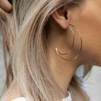 Women Alloy Geometric Hoop Crescent Moon Ear Stud Earrings Bohemian Jewelry