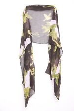 Black Pink White Green & Warm Yellow Flowers & Birds Print Summer Scarf (S159)