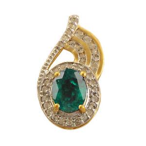 14KT Gold / 1.80Ct Natural Zambian Green Emerald & IGI Certified Diamond Pendant