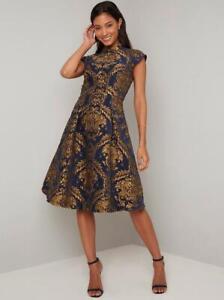 Chi Chi Leila Dress Navy UK 10 RRP £69.99 LN017 FF 14