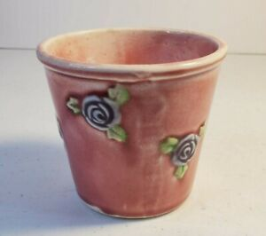 Small Vintage Planter Made in Japan Pink with Roses all Over