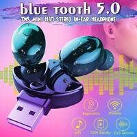 bluetooth 5.0 IPX5 TWS Wireless Earphones Earbuds Stereo Mini Headphones Headset