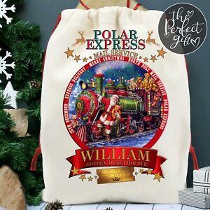 Polar Express Christmas Sack Santa Xmas Present Stocking Personalised Gift Kids