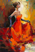 ZWPT956 hand painted dancing red dress girl figures oil painting art on Canvas