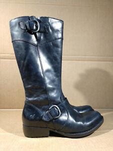 BORN BOC Jonsi Black Leather Knee-High Zippered Riding Boots Size 6.5  / 37