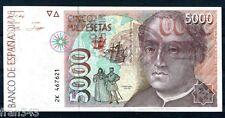 Varietà Errore 5000 pesetas 1992 BIGLIETTO RETROMARCIA MODELLATO su DUE PUNTI