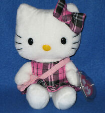 TY HELLO KITTY TARTAN PLAID BEANIE BABY - UK VERSION with PURSE - MINT TAGS