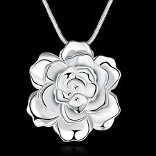 "Solid Silver Jewelry White With Falling Flower Women Necklace 18"" NP773"