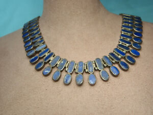 Estate Vintage Lapis 950 Sterling Silver Necklace Bracelet Set One of a Kind