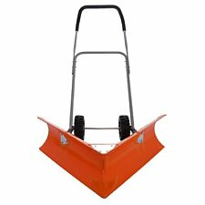 Ivation Heavy Duty Dual Angle Snow Pusher – Manual Push Plow - Ergonomic Handle