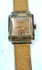 Antique Deco SIMPLEX Yellow Gold GF Stainless Back Mens Wrist Watch #W206