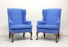 Vintage Queen Anne Style True Blue Wing Back Chairs - Pair
