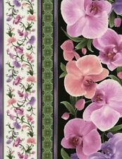Timeless Treasures Orchids by Chong-a Hwang C3210 Multi Stripe Cotton Fabric BTY