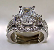 1.80Ct White Princess Excellent Cut 925 Silver 3-in-1 Wedding Ring Set Sz 4-15