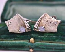 Deco Diamond and Moonstone 9.55g #G230 Vintage 14ct gold shield cufflinks Art