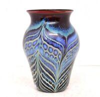 "SIGNED Sherburn  6.5"" STUDIO ART GLASS VASE Pulled Feather Art Nouveau style"