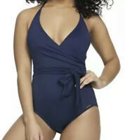NWT Vince Camuto Women's V-Neck Wrap-Tie One Piece Swimsuit Deep Sea Size 6