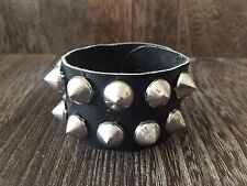 VINTAGE 1980'S PUNK ROCK BLACK LEATHER POINTED STEEL STUDDED MENS WRISTBAND