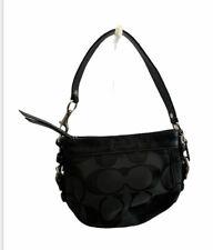 Coach Zoe Signature Small Handbag Black w/Black Leather Trim/Handle 41856