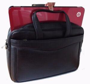 "Real Leather Briefcase Satchel Laptop Bag 15"" Black Office Bag Gold Strap New"