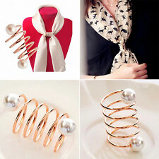 Women Fashion Pearl Spiral Scarf Ring Buckle Holder Brooch Pin Buckle Jewelry