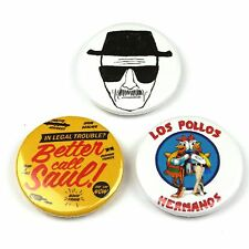 Set of 3 - Breaking Bad - Button Badge - 25mm 1 inch - Humour / Parody Style