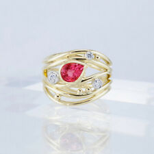 LXH F296 Handmade 100% Natural ruby 2.20ct Size US 7 14K Yellow Gold ring