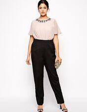BNWT Little Mistress Cream Black Embellished Evening Occasion Jumpsuit 18 NEW