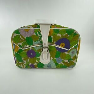 Vintage Floral Suitcase 60s Mod Small Luggage Carry On White Strap Made Japan