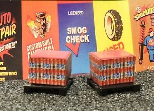 TWO  MOTOR OIL CASES LOAD with PALLETS 1:48 (O) Scale GARAGE  Diorama