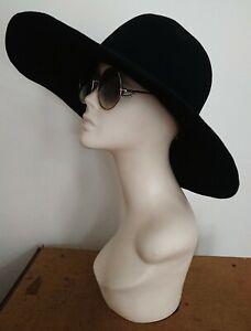 Vintage 1960s Bohemian/Hippy Black Wide Brim Pure Wool Hat By Edward Mann..