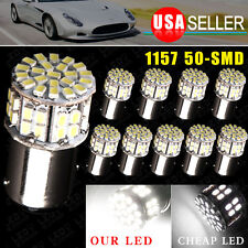 10x Pure White 1157 BAY15D 50SMD LED Light Bulbs Tail Brake Stop Backup Reverse