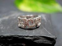 Hübscher 925 Sterling Silber Ring Signiert Zirkonia Muster Verschlungen Breit