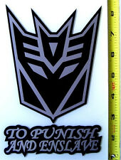 "Transformers - Decepticon Punish and Enslave 5x7"" HQ Silver on Black Vinyl Decal"