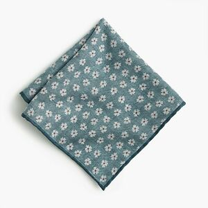 J.Crew Silk-Cotton Reversible Pocket Square in Daisy Print | Made in Italy | $45