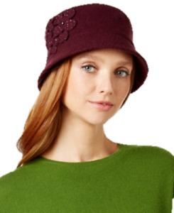 Nine West Flowered Wool Knit Micro Brim Hat in Plum, Retail $38.00