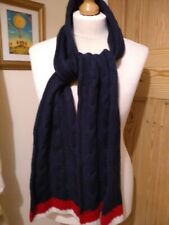 A Forty Three Cable Wool Scarf Blue /red and white