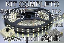 KIT STRISCIA LED DOPPIA FILA SMD5050/600LED BIANCA FREDDA + DIMMER POTENZIOMETRO