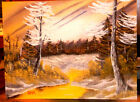 Original Oil Painting 12 x 16 Canvas Board - Wooded Scene in Brown & Yellow