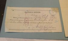 1881 B&O Railroad Signed Stamped Baltimore Mayor's Office Travel Authorization