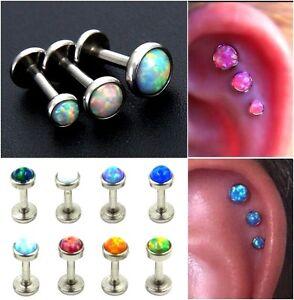 1x Opal Bezel Labret triple piercing forward helix earring tragus cartilage stud